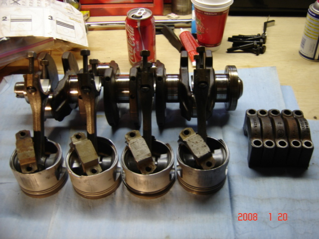 Audi 3A pistons and rods with VW 9A crank and Fox main bearing caps.